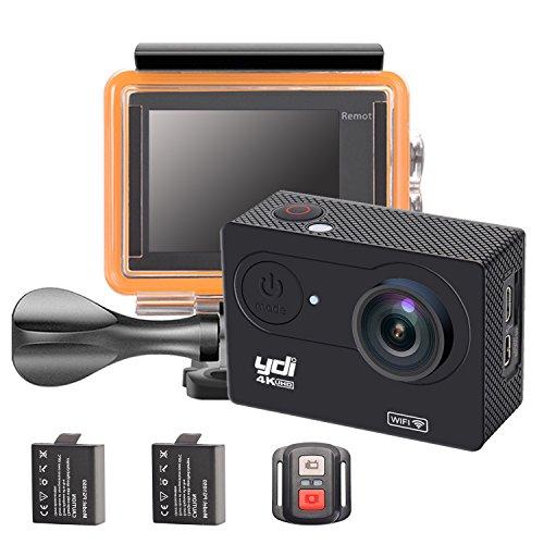 YDI H9R Action Cam Unterwasserkamera 4K WIFI Sports Kamera Wasserdicht 30M Ultra HD Helmkamera mit Fernbedienung, 2 Batterien und Zubehör Kits (Schwarz)