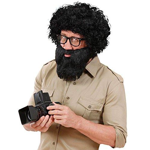 Araber Vollbart schwarz Hipster Bart schwarz Hipsterbart mit Schnurrbart Voller Moslem Herrenbart mit Mustache Faschingsbart Steinzeit Urmensch Dschungel Pirat Kapitän Junggesellenabschied JGA Accessoire Karneval Kostüm Zubehör