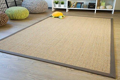 Sisal Teppich Brazil mit Bordüre Farbe natur dunkel braun Premium Qualität 100% Sisal, Größe: 140x200 cm