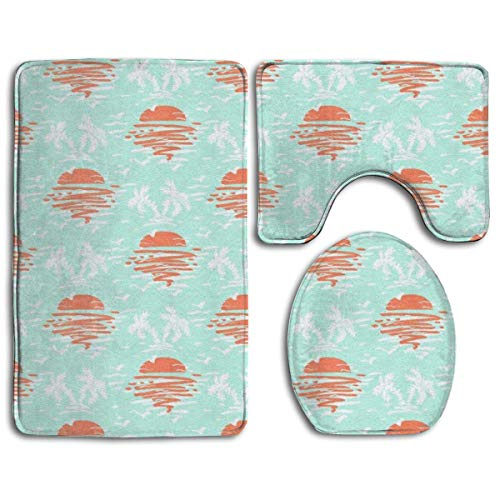 ouyjian IconSymbol Non-slip 3 Piece Bathroom Carpet Set Early Sunset For Flamingos Memory Foam Extra Soft Contour Mat Combination
