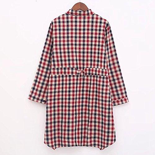 YiLianDa Femme Chemise Manches Longue Tunique Mini Robe T-Shirt Tops Haut Blouse Rouge