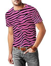 Diseño de cebra color rosa brillante para hombre mezcla de algodón T-Shirt