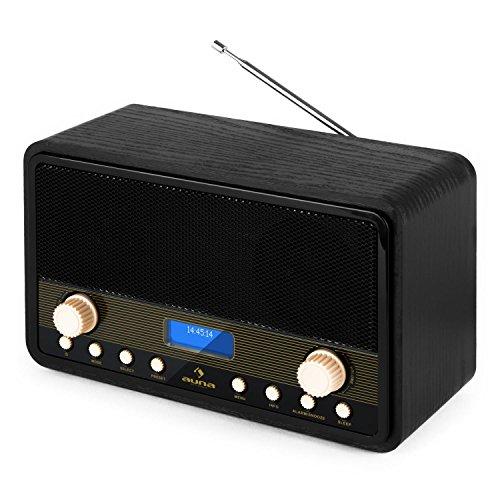 Auna Digidab Radio digitale Con Sintonizzatore DAB Retrom Vintage (Tuner FM, 10 Stazioni Memorizzabili, Display (Dj Station Karaoke)
