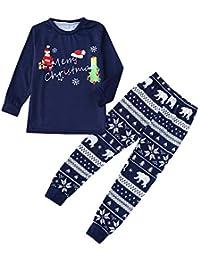 Hffan Damen Herren Baby Weihnachtspyjamas Eltern-Kind-Anzug Eltern-Kind-Schlafanzug Junge Mädchen Langarm Bequem Weich Pyjama Drucken Weihnachten Pyjamas