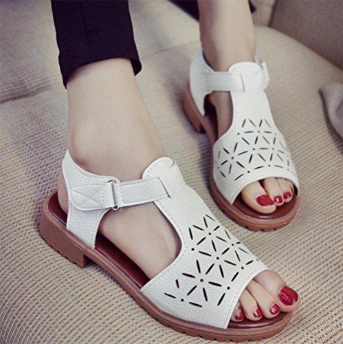 Frauen beiläufige Sommer Sandalen höhlen atmungsaktiv Fischmund mit niedrigen Absätzen Sandalen atmungsaktiv White
