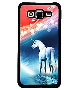 PRINTVISA White Horse Premium Metallic Insert Back Case Cover for Samsung Galaxy Grand Prime - G530F - D5675