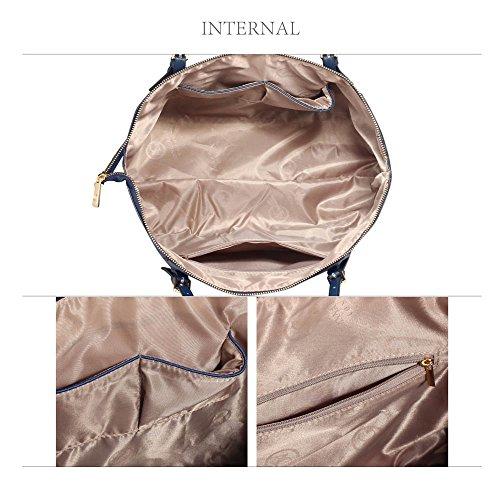 Frau Handtaschen Damen Groß Für Leinentrage Tasche Konstrukteur Imitat Leder Berühmtheit Stil Neu (C - Bräunen) Marine 2