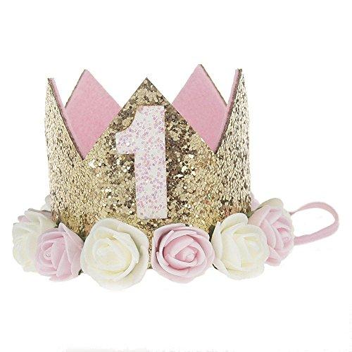 (Baby Mädchen Geburtstag hat Rose Blume Haarband 2,5cm Prinzessin Krone Tiara Kids ersten Geburtstag hat Sparkle Gold Blume Design)