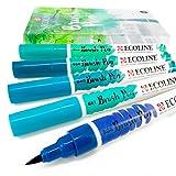 Royal Talens Ecoline - Lot de 5feutres pinceaux liquides - Pour l'aquarelle et le dessin - Pochette plastique incluse - Bleu vert