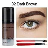 Teinture à Sourcils Liquide + 2Pcs Pinceaux de Maquillage, KISSION Gel de Sourcil, Rehausseur de Sourcils, Imperméable Durable, Séchage Rapide