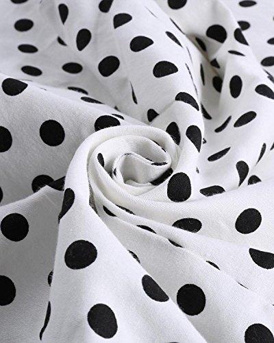 ZAFUL Damen 50s Blusenshirt Retro Sommer Top Pinup Kurz T Shirts mit Puffärmeln mit Mehreren Farben Langarm Weiß