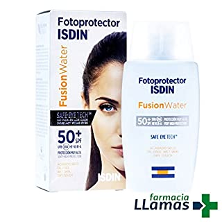 FOTOPROTECTOR ISDIN Fusion Water SPF 50+ Safe–Eye Tech Non Itch Eyes Acto for Skin ATOPICA 50ml