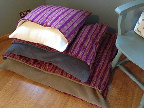 purple-stripe-dog-snuggle-bed-handmade-burrow-sack-cave-pillow-small-medium-large-x-large-light-brow