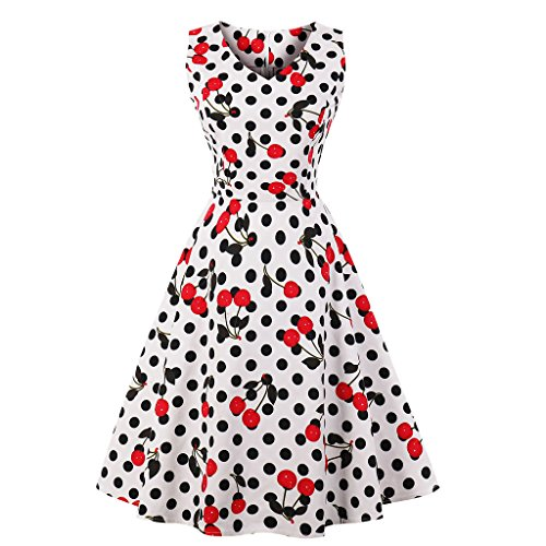 Kleider Damen A-Line Vintage 1950er Cocktailkleid Ärmellos Retro Abendkleid Schwingen Pinup Rockabilly Kleid Große Größen Polka Dot Partykleid XXL