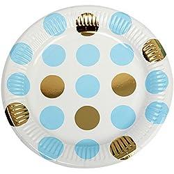Neviti-Juego de Platos, diseño de Lunares, Color Azul, Pack de 8