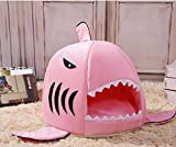 Xinjiener Soft Lovely Animal Shark Bed Small Cat Dog Cave Bed Pet Beds House Soft Cushion Sleeping Bag Gift for Pet