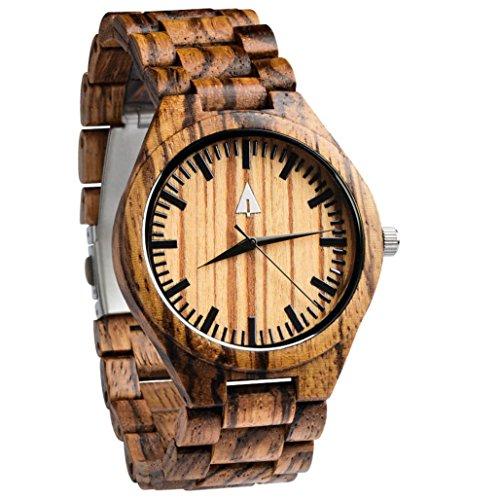 Treehut Quarz-Armbanduhr aus Holz mit Zebra-Motiv, analog, mit Uhrwerk und dreiteiliger Edelstahl-Schließe mit Druckknöpfen, 4,3cm