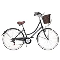 "Ammaco Classique Dutch Style Heritage 26"" Wheel Womens Bike & Basket 19"" Frame Black"