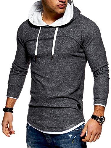 MT Styles Herren 2in1 Oversize Hoodie Pullover Kapuzenpullover Hoodie MT-7426 [Dunkelgrau, XXL]