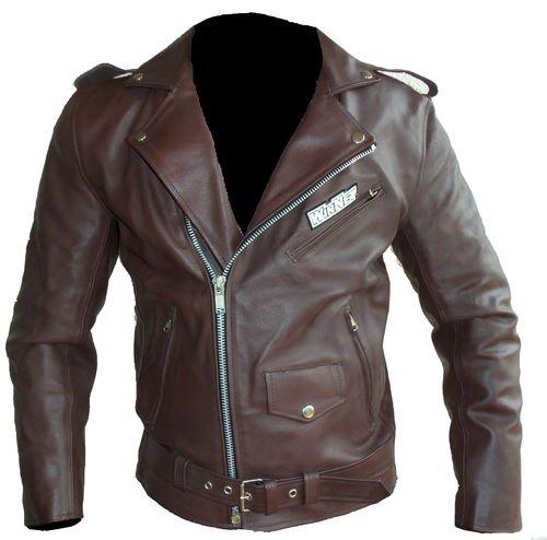 WinNet Giacca chiodo vintage da moto custom in pelle marrone, Taglia: L