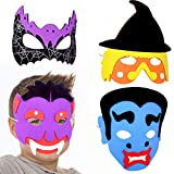 German Trendseller® 6 x Kinder Party - Masken Mix Schaumstoff Masken ┃ Kindergeburtstag ┃ Mitgebsel ┃ Kleine Halloween Monster ┃ 6 Masken