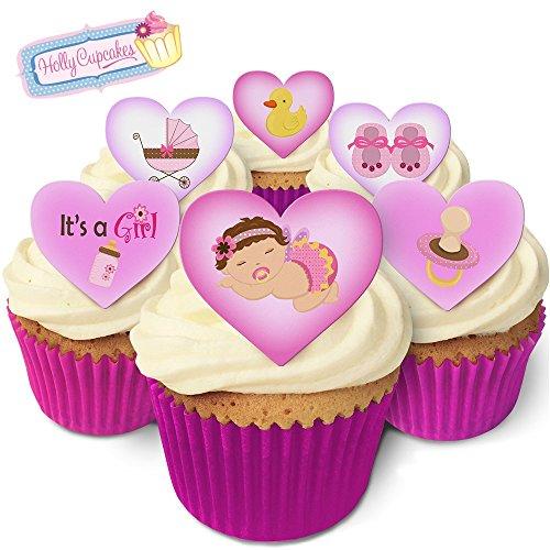 Kuchendekorations-Set für einen braunhaarigen Mädchen / Brown haired baby girl hearts