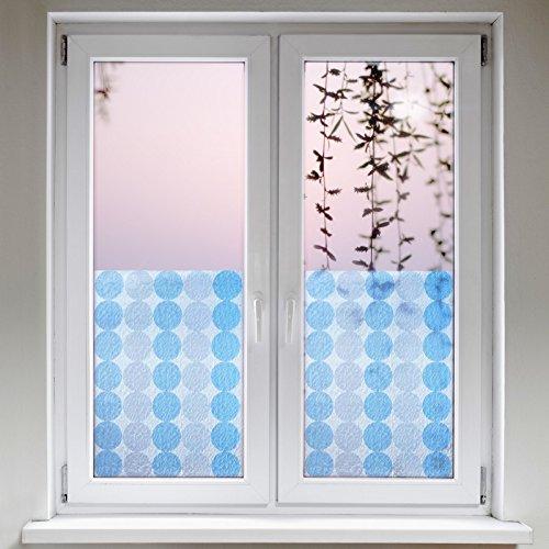 Artefact® Dekofolie / Fensterfolie Kreise Blau Weiss | statisch haftend (ohne Kleber) | verschiedene Größen