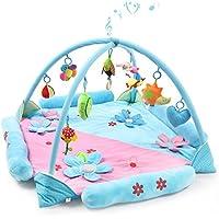Gran Estera de Juegospara 1-2 Bebés, Safe&Care Alfombra Gimnasio de Actividades con Arcos Cruzados Extraíbles Colgantes Sonajeros y Juguetes de Peluche Manta de Juego para Bebé y Niños Pequeños