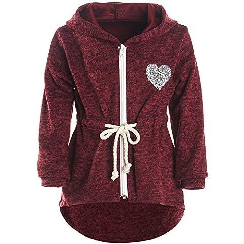 BEZLIT Mädchen Kapuzen Jacke Pulli Pullover Glitzer Sweatshirt 21489, Farbe:Bordeaux, Größe:116