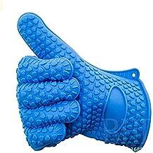 unicoco Silikon Handschuhe wasserdicht Anti Wärme rutschfeste Handschuhe Backofen Dick für Mikrowelle/Grill/cuissine/Spülmaschine etc.. 1Paar 38 cm blau