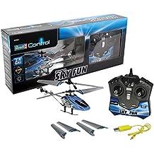 Revell Control RC Helikopter, ferngesteuerter Hubschrauber für Einsteiger, 2,4 GHz Fernsteuerung, einfach zu fliegen, Gyro, stabiles Chassis, LED-Beleuchtung, USB-Ladegerät - SKY FUN 23982