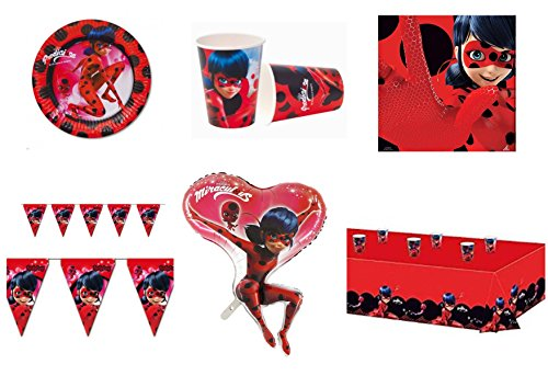 Ladybug Marienkäfer und Chat Noir koordinierten Kinder Geburtstag Party Dekorationen - Kit N ° 34 cdc- (16 Teller, 16 Becher, 20 Servietten, 1 Tischdecke, 1 Ball Supershape, 1 Girlande) (Für 1. Dekoration Marienkäfer Geburtstag)