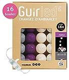 Lichterkette LED USB Girlande - Dual-USB-Ladegerät 2A enthalten - 3 Intensitäten - 16 Bälle - Purple