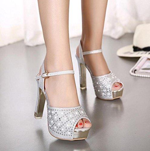 OL Hochzeitsplattform 4 cm Knöchelriemen Stiletto 13 cm Ferse Peep Toe Strasssteine ??Decoratiom Casual Shopping Schuhe EU Größe 34-39 Silver
