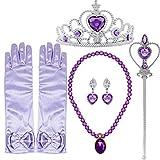 Tacobear Princesa Rapunzel Sofia Disfraz Accesorios Princesa Collar Corona Guantes Pendiente Varita Mágica para niñas Princesa Joyas Cosplay Princesa Disfraz