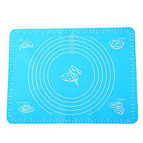 M&F gâteau Rouleau à pâtisserie Set de Table en Silicone Tapis Pliable Plaque de Cuisson Ustensiles de Cuisine Bleu