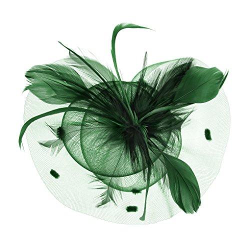 FakeFace Fascinator Hüte mit Feder Blumen Haar Clip Haarreif Haar Accessoire Netz-Mütze Schleier Tea Party Hochzeit Kirche Haarschmuck Kopfschmuck Kopfbedeckung für Frauen,grün - Hüte Der Mutter Braut