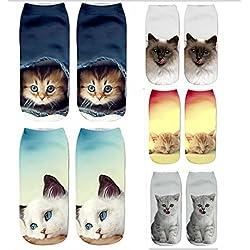 DouTree Mujeres Chicas 3D Crazy Funny Cartoon Gatos Animales Calcetines (paquete de 5 parejas)