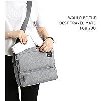 NOVAGO Sacoche pochette compagnon de voyage sac bandoulière porte documents et tablette 11 pouces (Gris Clair)