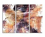 Abstraktes 3 teiliges Leinwandbild Fotoleinwand schwarz braun weiß mit einem Herz Maße: 130x90 cm