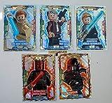 5 Karten Lego Star Wars Trading Card Serie 1 - LE 2 Zielstrebiger Obi Wan Kenobi LE 12 Gefährlicher Darth Maul LE 4 Erfahrener Han Solo LE 6 Gewappneter Anakin Skywalker LE 16 Action Todessruppler + bmg2000 Goldsticker Aufkleber