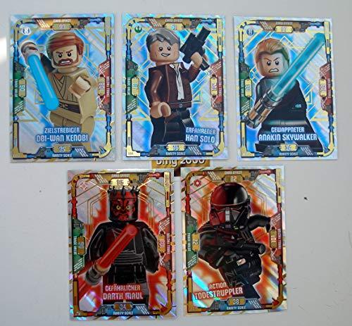 5 Karten Lego Star Wars Trading Card Serie 1 - LE 2 Obi Wan Kenobi LE 12 Darth Maul LE 4 Han Solo LE 6 Anakin Skywalker LE 16 Action Todessruppler + bmg2000 Aufkleber