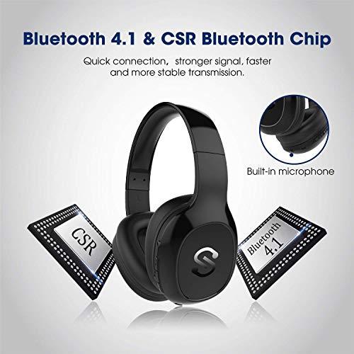 SoundPEATS Bluetooth Kopfhörer Over Ear Kopfhörer 20 Stunden Spieldauer kabellos & 3,5-mm-Audioeingang on Ear Headset Kabelgebundene Kopfhörer Bass Stereo Mikrofon Kompatibel für Samsung/iPhone/Huawei - 4