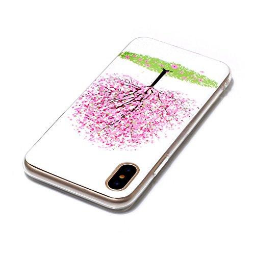 Cover iPhone X, Custodia iPhone 10, CaseLover Nottilucenti Luminoso TPU Silicone Custodia per iPhone X / iPhone 10 Ultra Sottile Fluorescente Flessibile Gel Protettiva Copertura LED Lampeggiante Morbi Albero rosa