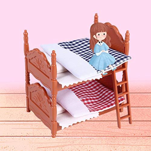 TianranRT❄ Mini Spielzeugbett Für Kinder Mini Diy Deko Puppe Mit Zwei Teilen (Rot) (Wels Uhr)