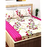 Story@Home 152 TC 100% Cotton Classic Elegant Abstract Pattern 1 Pc Double Bedsheet with 2 Pillow Covers Beige