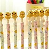 Packung mit 12 Stück 0.5 Mm Niedlich Neuheit Gelb Ente Decor Kugelschreiber Büro Schule Vorräte Studenten Kinder Geschenk Druckkugelschreiber