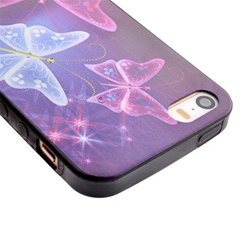 iPhone 5S Coque, iPhone 5 Coque, Lifeturt [ Star Papillon ] Housse Anti-dérapante Absorbant Chocs Protection Etui Silicone Gel TPU Bumper Case pour Apple iPhone 5/5S/5G E02-Star Papillon10543