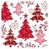 20 SERVIETTES SAPINS ROUGES 33X33 CM