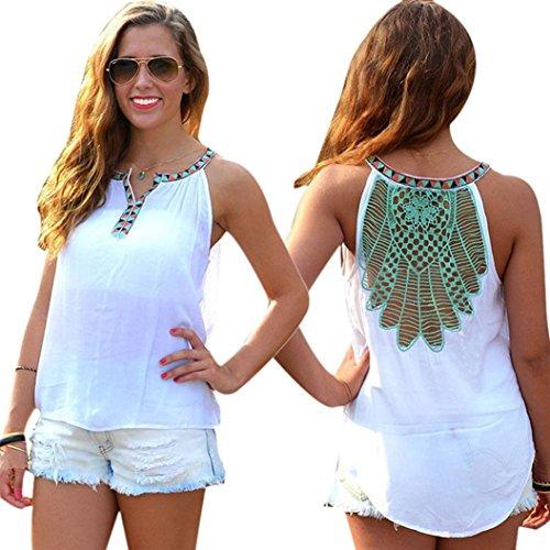 Damen Top,Sannysis Sommer-Weste-Sleeveless beiläufige Bluse Weiß